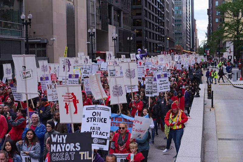 Democracy at work: teachers and public employees striking in Chicago.