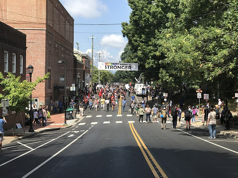 A scene from the Unite the Right rally in Charlottesville, VA in 2017.
