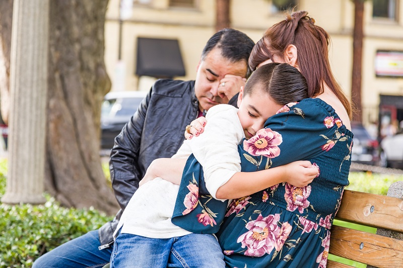 Family embracing