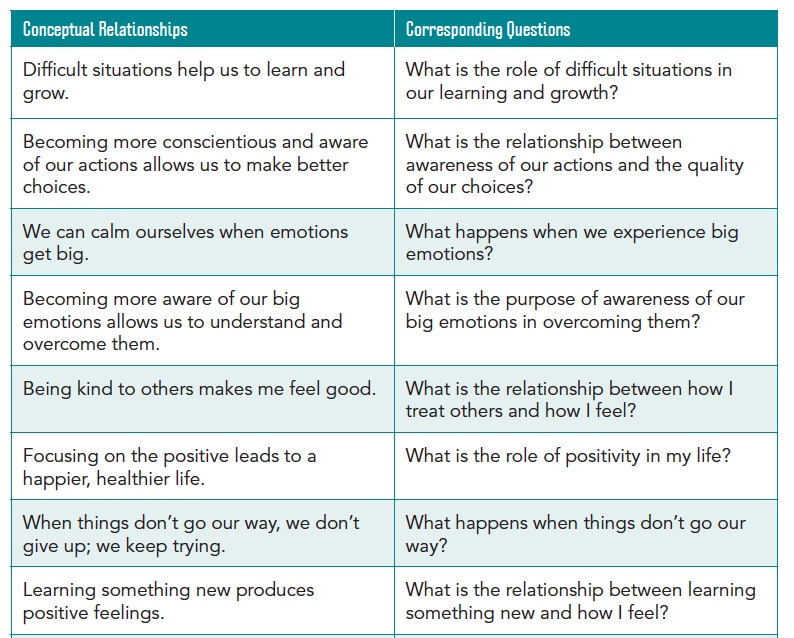 Social Emotional Learning and Conceptual Relationships