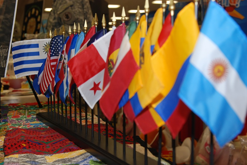 National Hispanic Heritage Month being celebrated with a display of flags