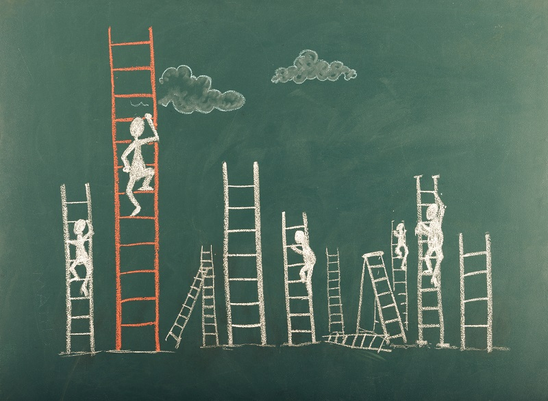 Children climbing ladders to reach their potential with a growth mindset.