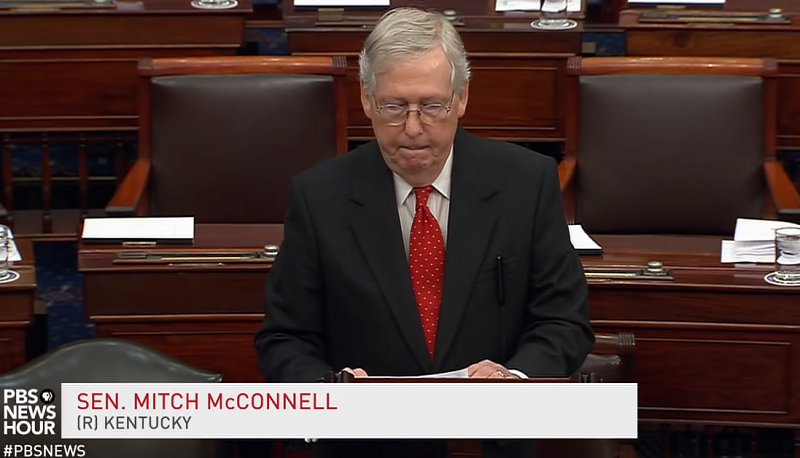 Mitch McConnell speaks at the impeachment trial on the floor of the Senate