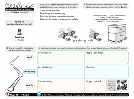 Main picture of CoreAtlas Entry/Exit Ticket: Word problems +/- fractions (4th grade)