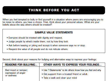 Main picture of Think Before You Act - Middle School Lesson 8