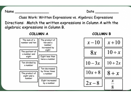 Main picture of Writing Algebraic Expressions Day 1 (of 2)