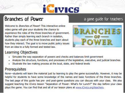 Main picture of Branches of Power: Interactive Learning Game