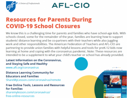 Main picture of Resources for Parents During COVID-19 School Closures from AFT and AFL-CIO