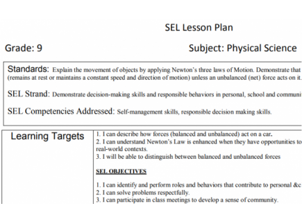 Speed motion plans and lesson Forces and