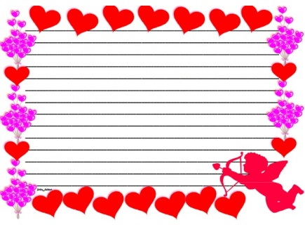 Main picture of Valentines Day Themed Lined Paper and Pageborder