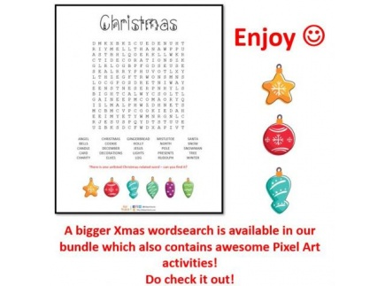 Main picture of Christmas wordsearch - 25 terms to find