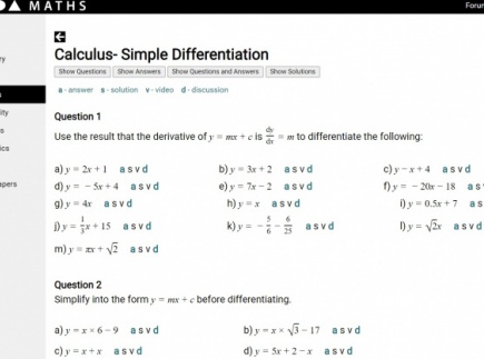 Differentiation Questions, Answers and Solutions