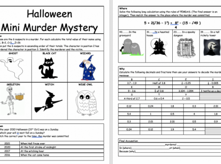 Halloween Math Activity: Mini Murder Mystery