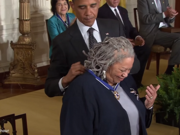 Author Toni Morrison receiving the Presidential Medal