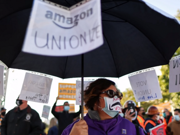 amazon workers rally union