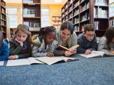 teaching and children in library
