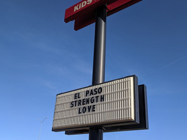 memorial sign from gun violence and mass shooting in El Paso, TX