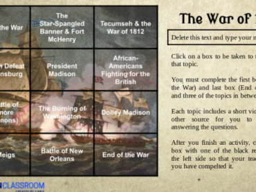 Choice Board: War of 1812