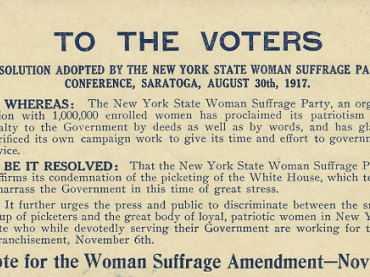 Flier Condemning Women's Suffrage Protestors