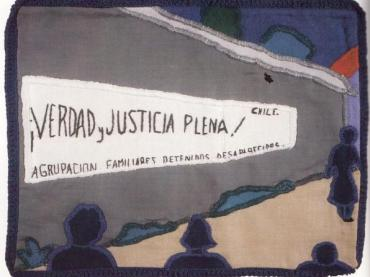 Arpillera. Protest quilt of Chile sewed by mother, grandmother, sister, spouse or other female family member of a disappeared person.