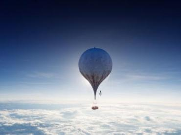 Hot air balloon in the atmosphere for the aeronauts