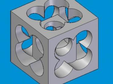 Square cube with Clovers cut into Five sides Rotated 90 degrees