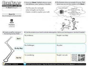 CoreAtlas Entry/Exit Ticket: Area of rectangle with fractional sides (5th grade)