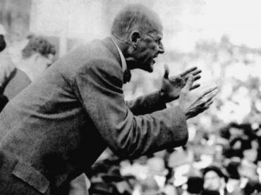 Eugene Debs speaking in Canton, Ohio in 1918. He was arrested shortly thereafter on charges of sedition.