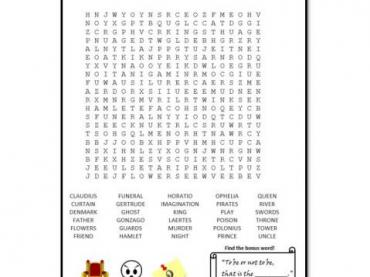 Wordsearch for Hamlet - William Shakespeare (30 words)