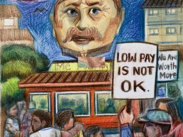 Social justice:  picket lines and the struggle for a living wage, Grades 2-8