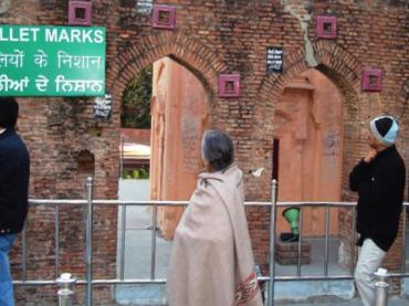 Bullet holes left behind at Jallianwala Bagh from the 1919 Amritsar Massacre.