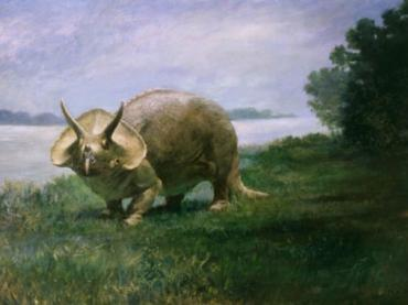 Charles R. Knight Triceratops paleoart circa 1901.