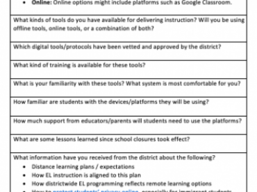 Distance Learning for English Learners: Needs Assessment