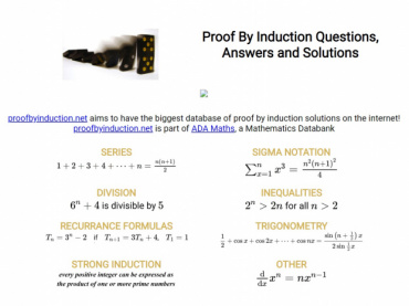 Proof By Induction Questions, Answers and Solutions