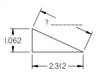 Right triangle to solve with pythagorean's theorem
