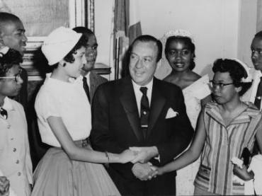 New York City Mayor Robert Wagner greeting the teenagers who integrated Central High School, Little Rock, Arkansas / World Telegram photo by Walter Albertin. Pictured, front row, left to right: Minnijean Brown, Elizabeth Eckford, Carlotta Walls, Mayor Robert Wagner, Thelma Mothershed, Gloria Ray; back row, left to right: Terrence Roberts, Ernest Green, Melba Pattilo, Jefferson Thomas.