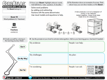 CoreAtlas Entry/Exit Ticket: Word problems +/- fractions (4th grade)