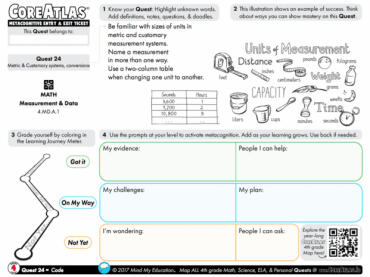CoreAtlas Entry/Exit Ticket: Metric & customary systems, conversions (4th grade)