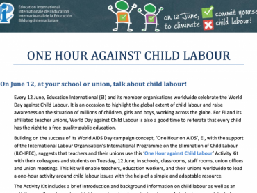 One Hour Against Child Labor Activity Kit