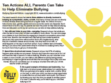 Bullying Prevention Resources for Parents