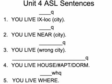 American Sign Language Telling Where You Live