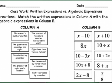 Writing Algebraic Expressions Day 1 (of 2)
