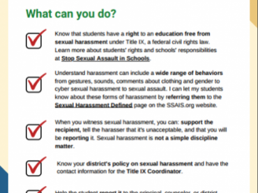 Teachers & staff can protect students from sexual harassment