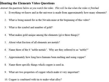 Hunting the Elements Video Questions
