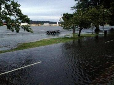 Flooding caused by a high tide in Washington DC.