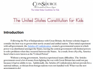 The ConSource United States Constitution for Kids