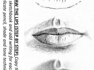 Worksheet with examples or drawing lips.