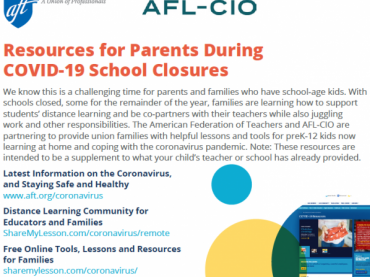 Resources for Parents During COVID-19 School Closures from AFT and AFL-CIO