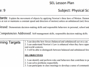 Grade 9 Science / SEL Integrated Lessons