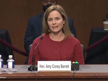 Judge Amy Coney Barret is interviewed by the Senate Judiciary Committee.